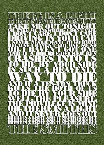 THE SMITHS - PAPERCUT LYRICS GREEN canvas print - self adhesive poster - photo print